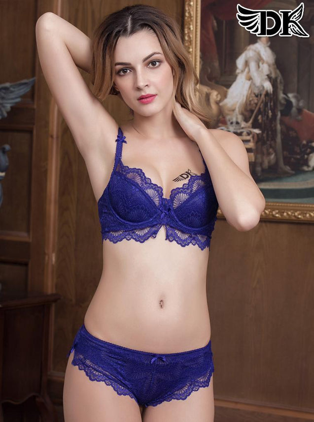 Underwire Ultra Thin Lace Attached Classic Bra and Panty Set -3384