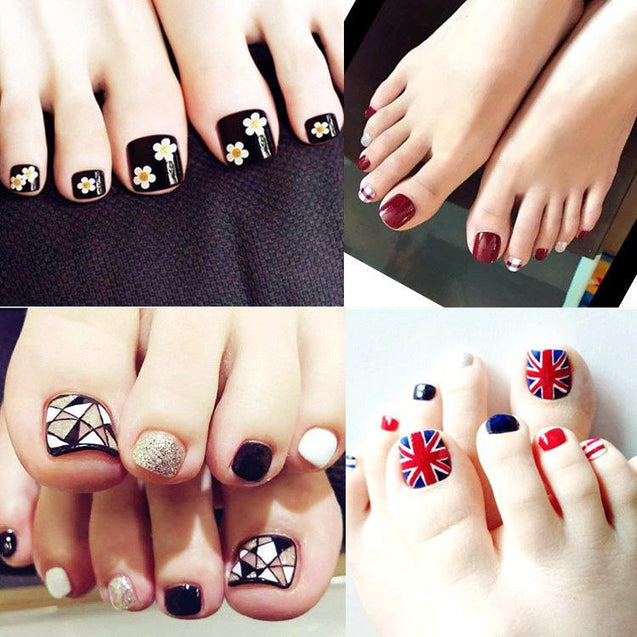Gloss and Matte Finish Fake Toe Nails in Multiple Designs -3646
