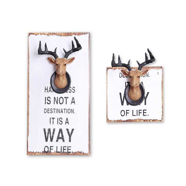Deer Head Wood Painting Wall Hanging Bar Cafe American Country Wall Decoration Three-Dimensional Animal Wall Wall Decoration Painting-14577