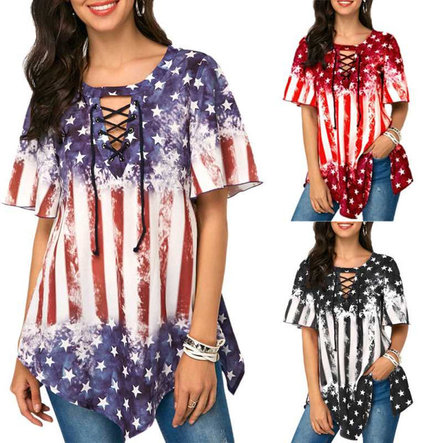 American Flag Printed Loose Half Sleeve Top For Females