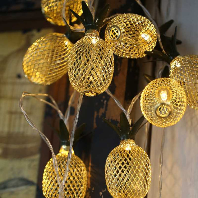 Led Wrought Iron Pineapple Lanterns Christmas Day Lights String Party Celebration Set Decoration Lights Battery Lights String Decoration Lights-12704-12704
