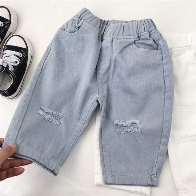 100% Cotton Roll Ups Length Washed Design Jeans