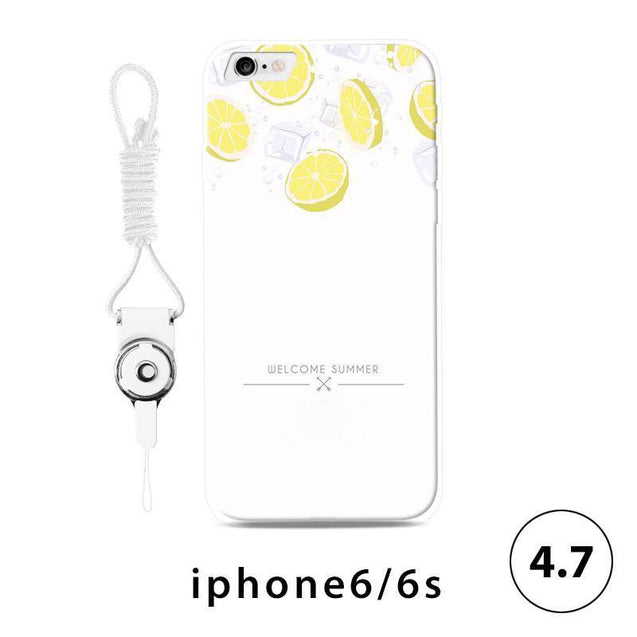 Soft Sided Frosted Lemon Print iPhone 6/7 Plus Case-1518