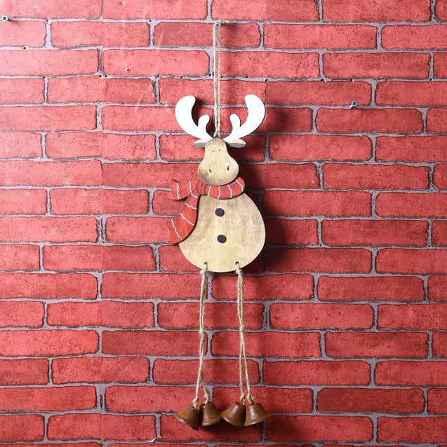 Christmas Deer Bell Ornament Hanging Ornaments Wind Chime Christmas Tree Decoration Color Hand-Painted Wooden Elk Pendant-14695