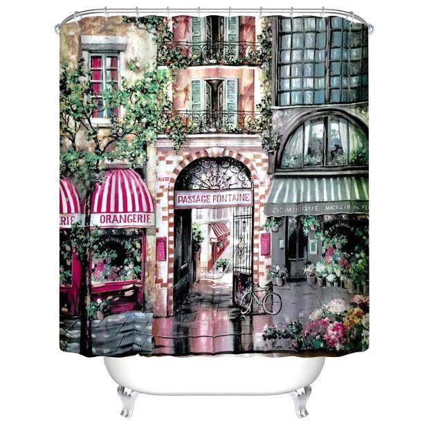 3D Continental Garden View Printed Polyester Shower Curtain Shower Curtains - GlobePanda