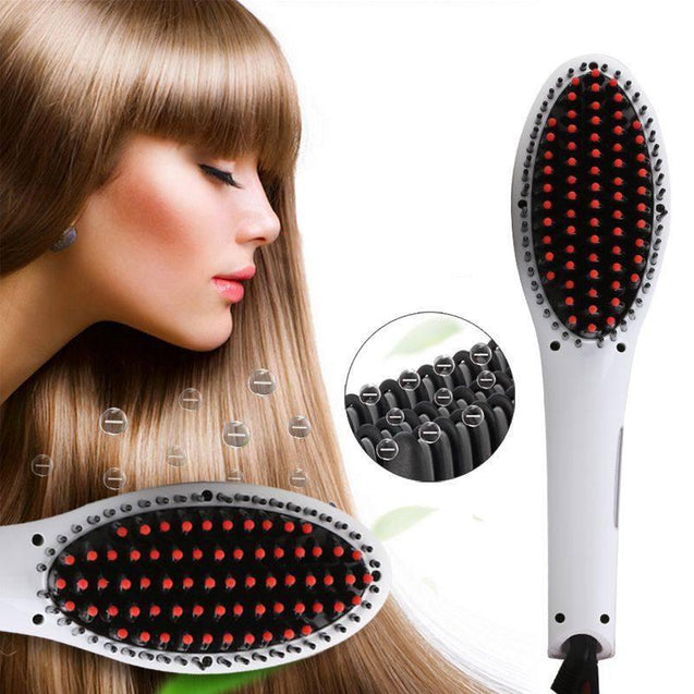 hair straightening comb, straightener brush, electric, hair tool, beauty, salon, home