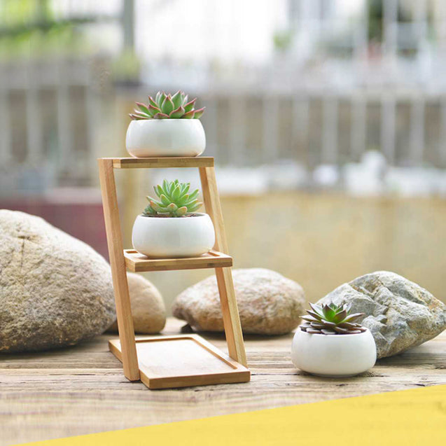 Ceramic Flower Pot With Bamboo Frame- 14778