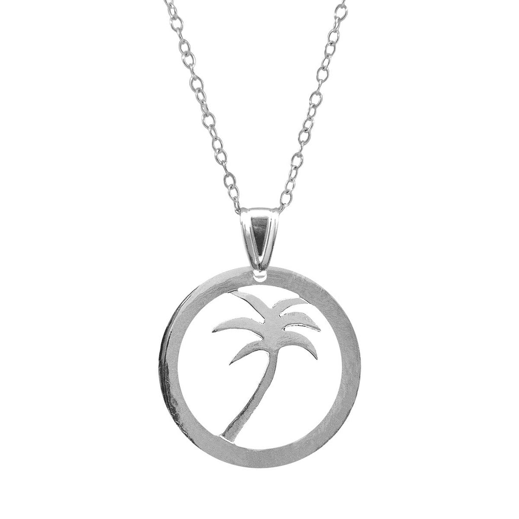 Palm Tree Disc Paradise Silver Necklace Pendant