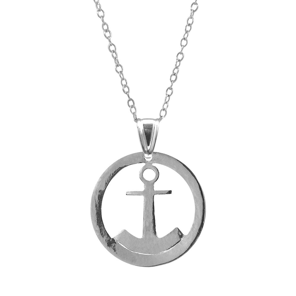 Seaside Anchor Disc Paradise Sterling Silver Necklace