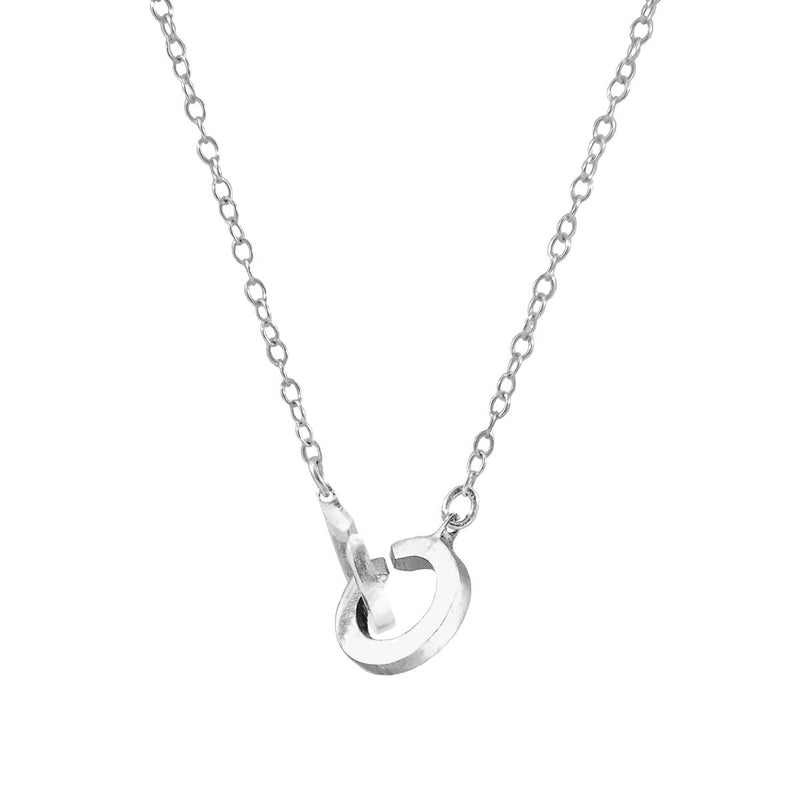 Twin Circle Link Paradise Sterling Silver Necklace Pendant
