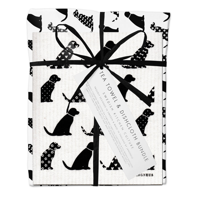 Jangneus Eco Black Dog Tea Towel & Compostable Dish Cloth Bundle