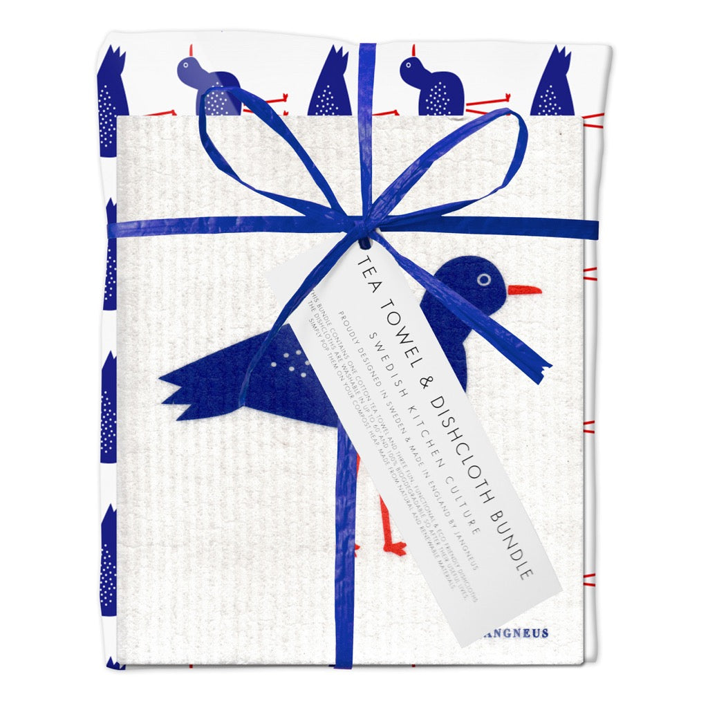 Jangneus Eco Blue Birds Tea Towel & Compostable Dish Cloth Bundle