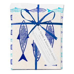 Jangneus Eco Blue Fish Tea Towel & Compostable Dish Cloth Bundle