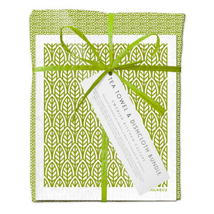 Jangneus Eco Green Leaves Tea Towel & Dishcloth Bundle