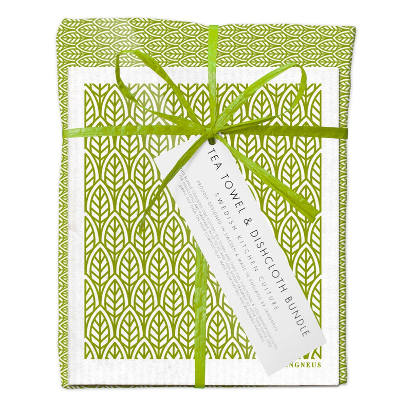 Jangneus Eco Green Leaves Tea Towel & Compostable Dish Cloth Bundle