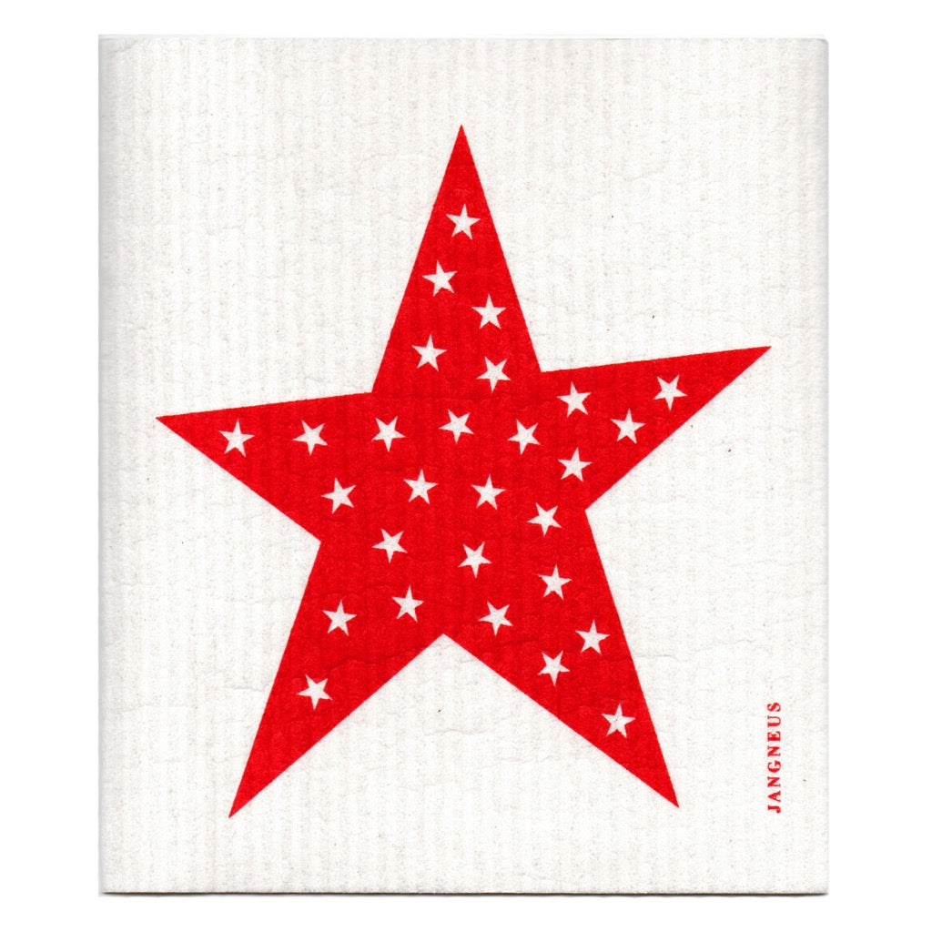 Jangneus Red Big Star Compostable Dish Cloth