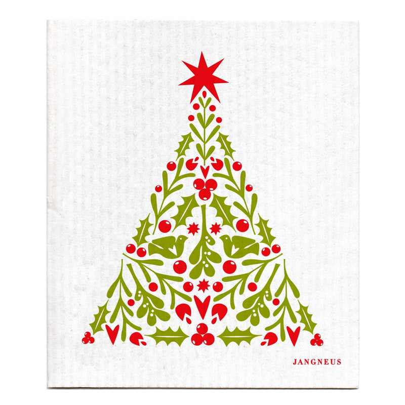 Jangneus Red Christmas Tree Compostable Dish Cloth