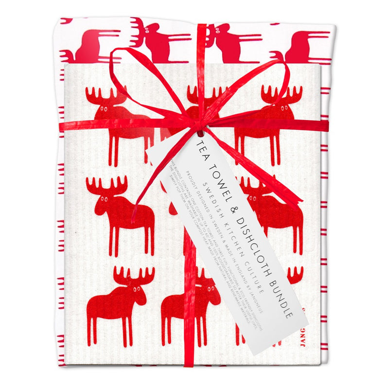 Jangneus Eco Red Moose Tea Towel & Compostable Dish Cloth Bundle