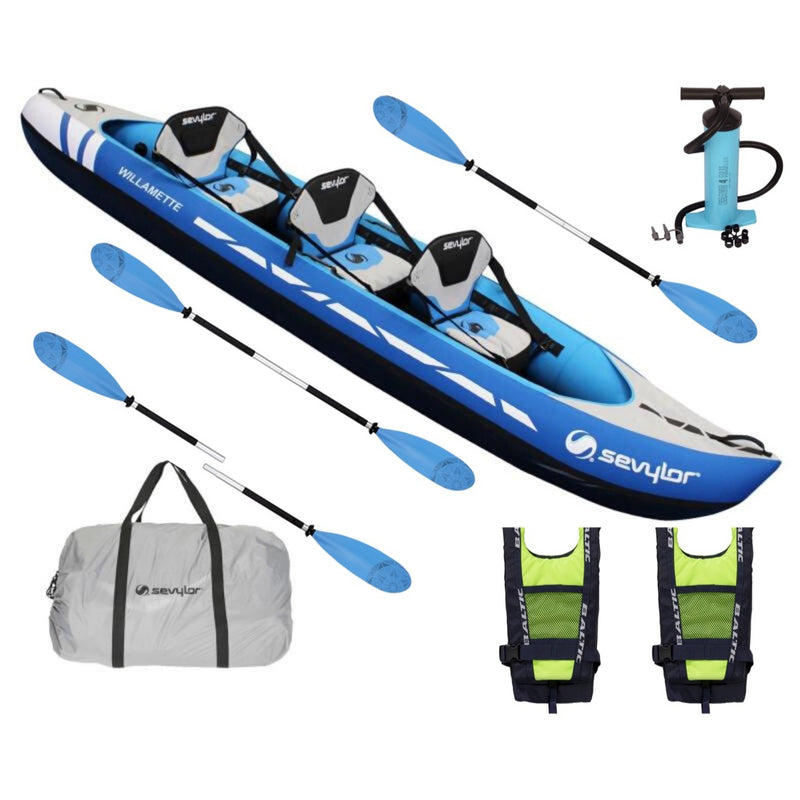Sevylor Willamette Complete Kayak Package 2 with Pump, Three Paddles & Two Baltic Buoyancy Aids