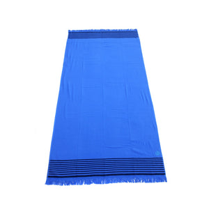 Large, Quick Drying, Hamam Cotton Towel | Blue Bathroom & Beach Travel Towel | Aqua Living UK