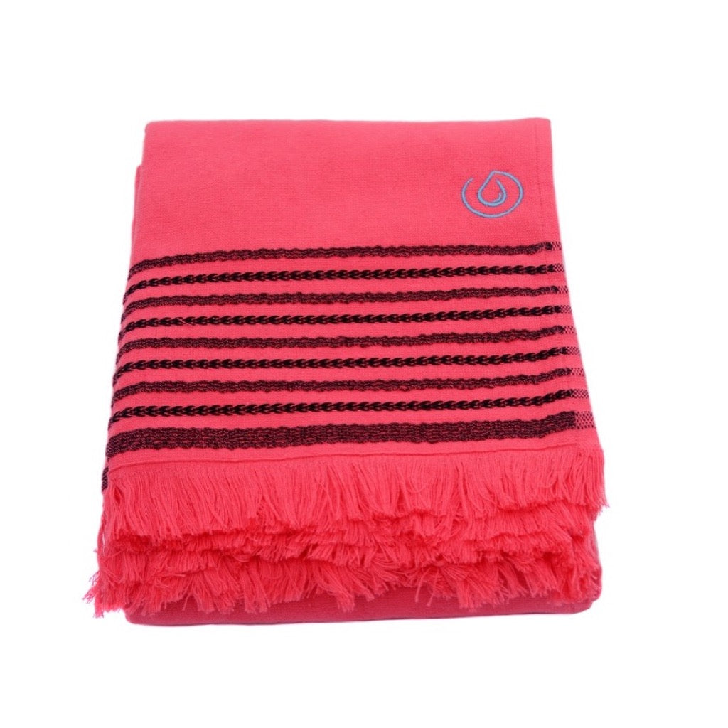Aqua Living Mediterranean Pure Cotton Large Towel - Hibiscus Pink | Bathroom & Beach Travel Towel