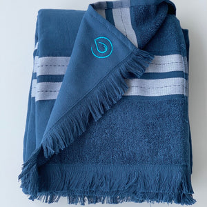 Pacific Pure Cotton Large Beach Towel - Plastic Free - Ocean Indigo