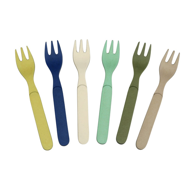 Set of 6 Bamboo Fork Set - Forkful of Colour