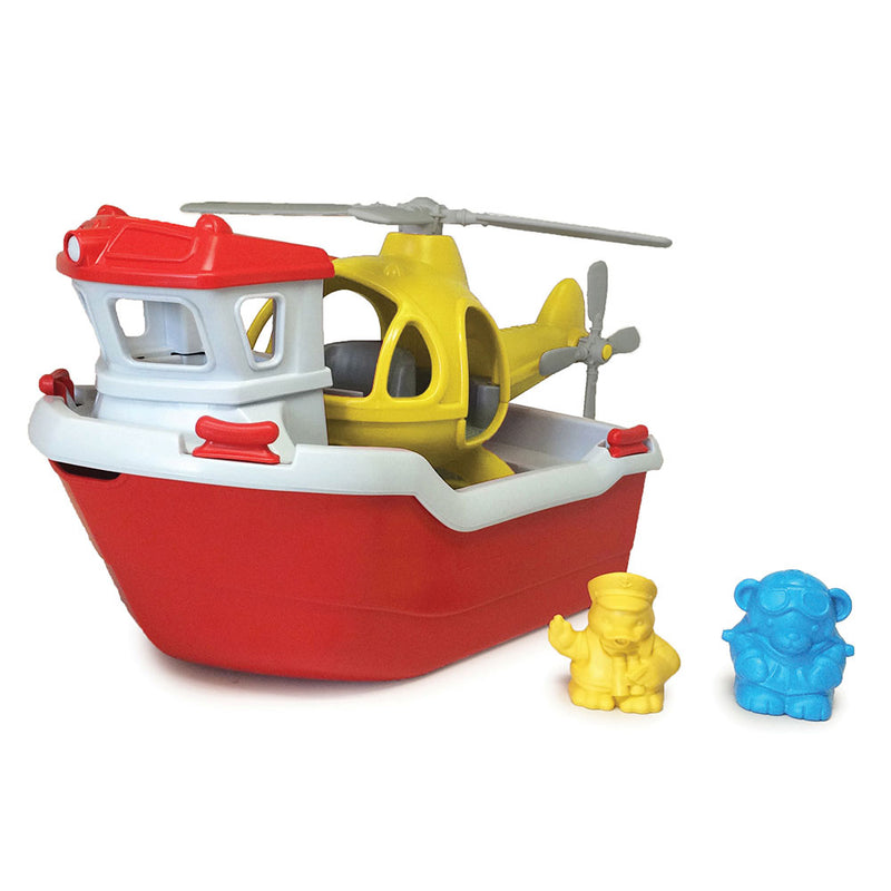 Green Toys Rescue Toy Boat with Helicopter