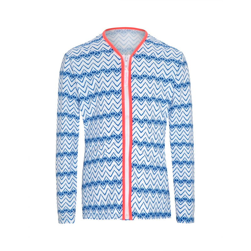 Indigo Waves Piped Long Sleeved Sun Jacket