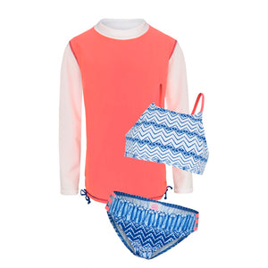 Indigo Waves Sunset - Long Sleeved Rash Vest with High Neck Bikini