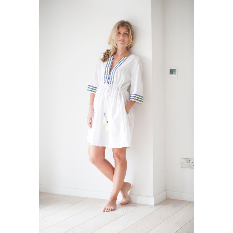Women's White & Neon Cotton Beach Kaftan with Pockets