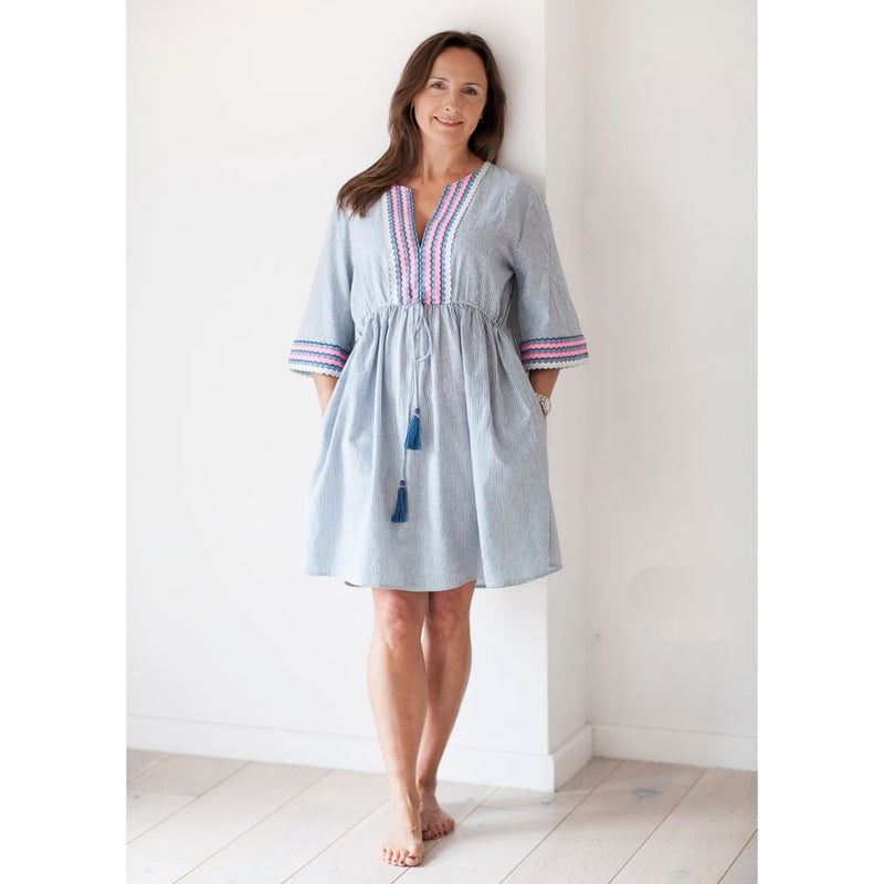 Women's Blue & White Striped Cotton Beach Kaftan with Pockets