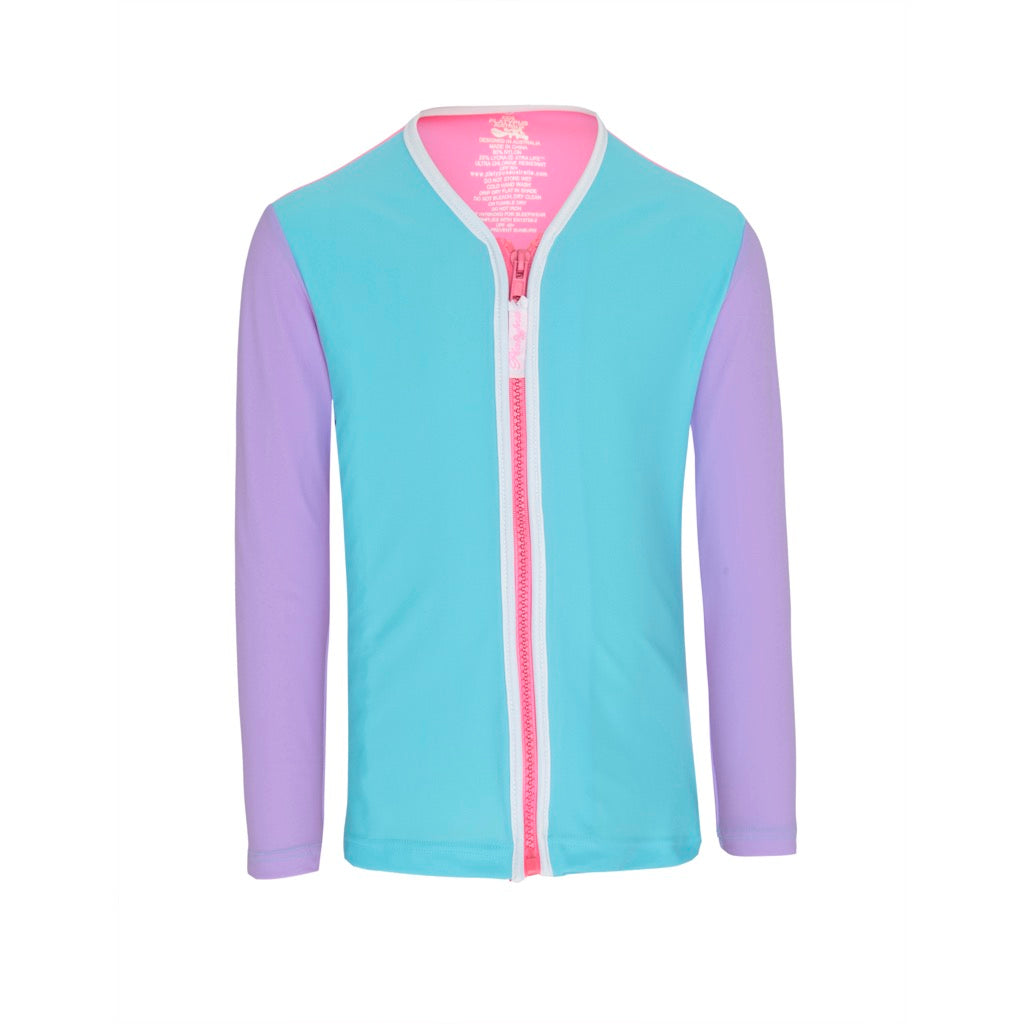 Kids UPF50+ Long Sleeved Sun Jacket - Sherbert Colour Blocked