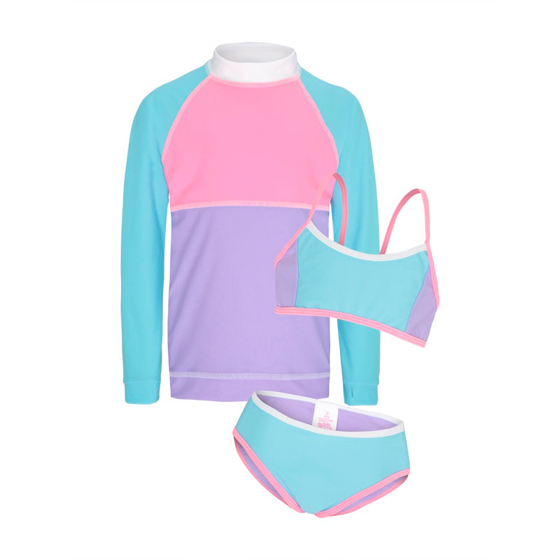 Sherbert Colour Blocked - Long Sleeved Sunshirt with Athletic Bikini Set