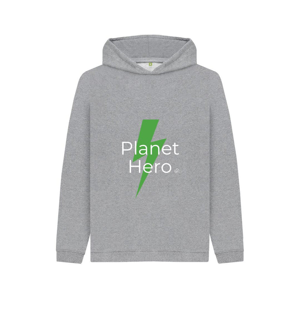 Athletic Grey Aqua Living Planet Hero Kids Hoodie - Green