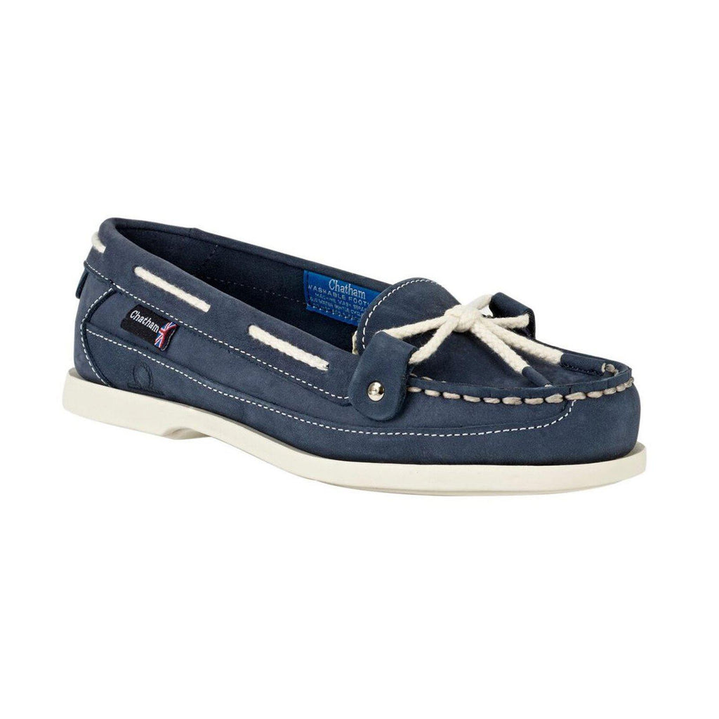 Chatham Women's Alcyone II G2 Slip On Deck / Boat Shoe - Navy, Grey & Cream