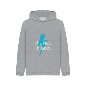 Athletic Grey Aqua Living Planet Hero Kids Hoodie - Blue