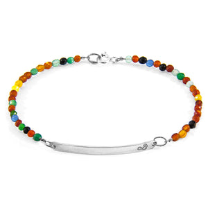Multi Coloured Rainbow Agate Sterling Silver & Stone Bracelet