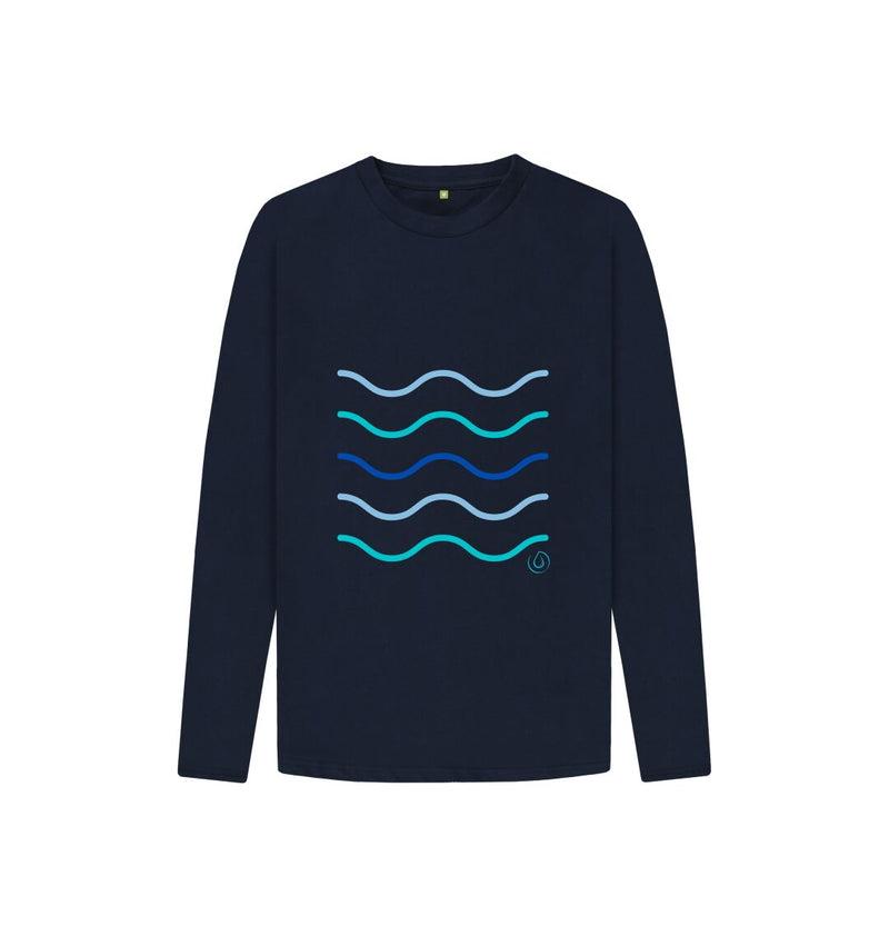 Navy Blue Kids Making Waves Long Sleeved T Shirt