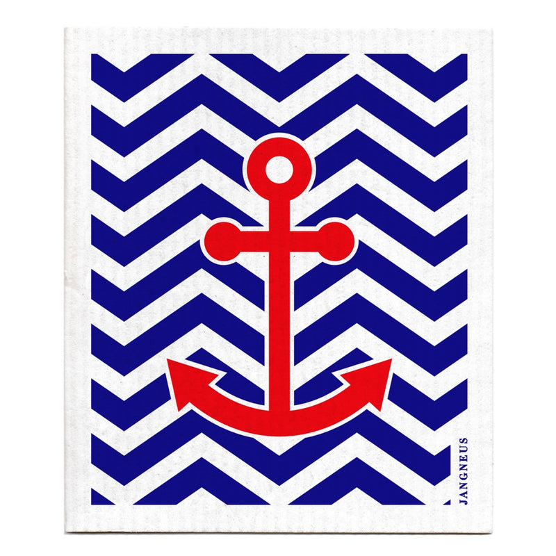 Jangneus Blue Red Anchor Dish Cloth