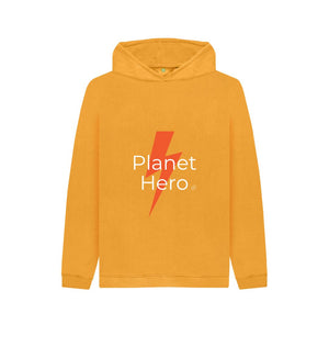 Mustard Aqua Living Planet Hero Kids Hoodie - Yellow