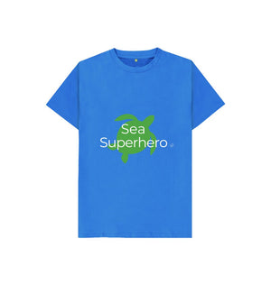 Bright Blue Aqua Living Sea Superhero Kids T Shirt - Green