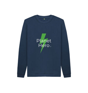 Navy Blue Aqua Living Planet Hero Kids Jumper - Green