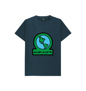 Denim Blue Kids No Planet B Organic Cotton T Shirt