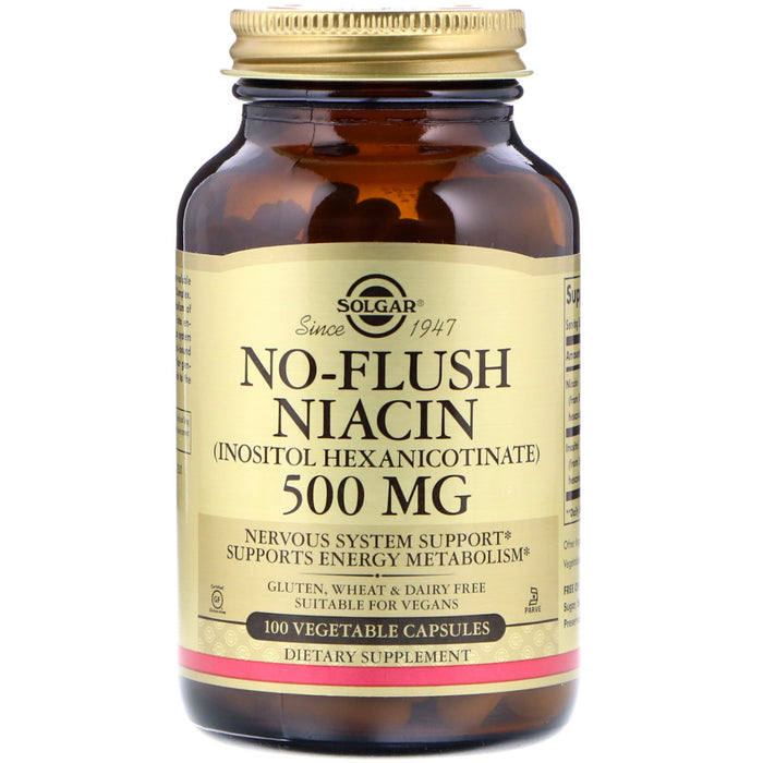 Solgar B3 Niacina Inositol No Flush 500mg 100 Vegan Cápsulas