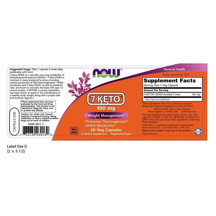 NOW 7-Keto 100 mg, 60 Cápsulas