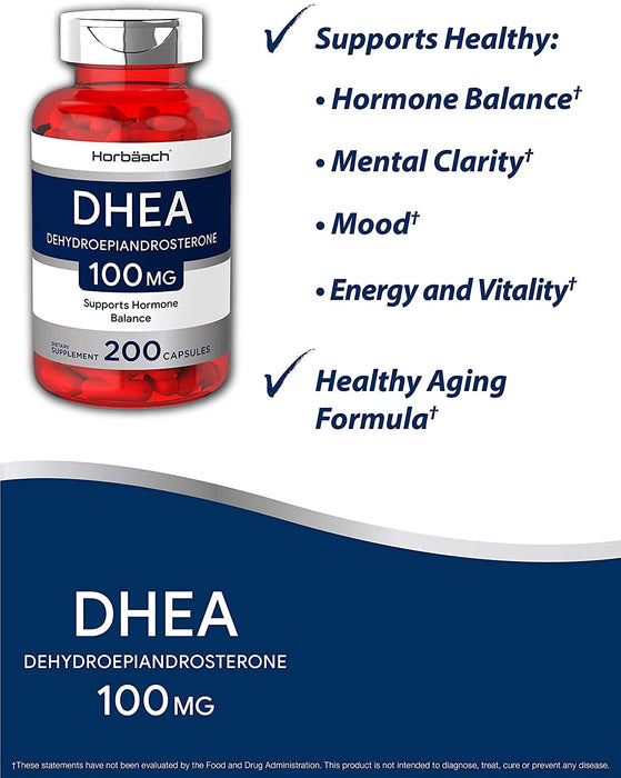 DHEA 100mg - 200 Capsules - Non-GMO, Gluten Free Supplement Horbaach