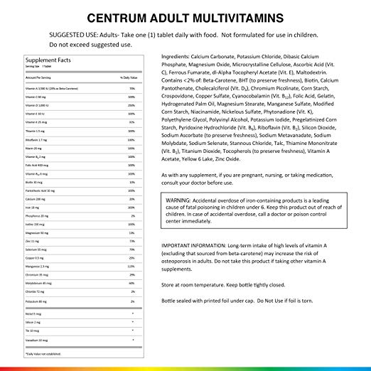 Centrum 200 Tabletes - Multivitamínico Adulto