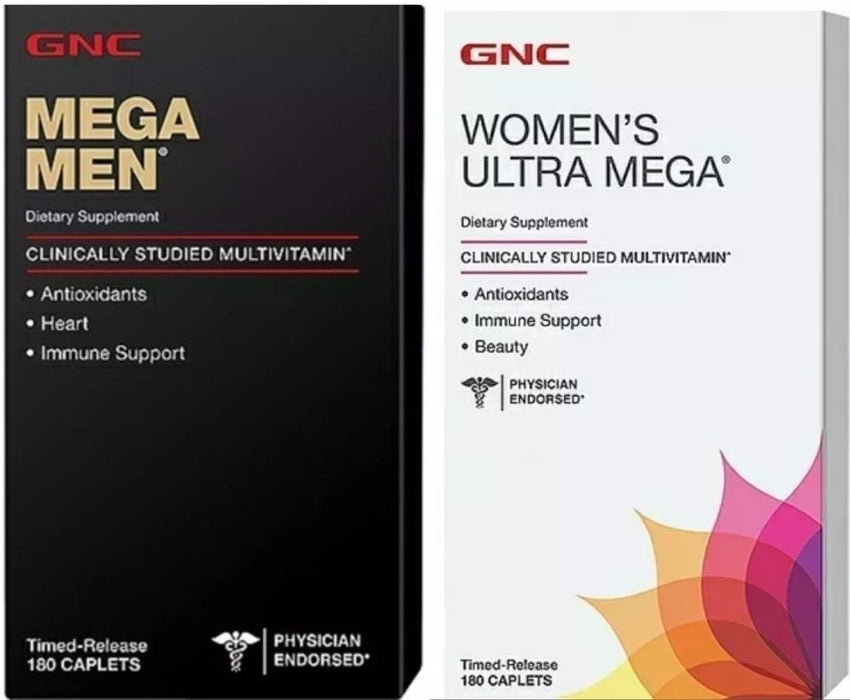 1 Women's Ultra Mega + 1 Mega Men - Gnc - 180 Cápsulas