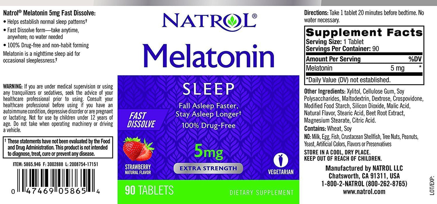 Melatonina Natrol 5mg Fast Dissolve (Morango) - 90 Tabletes— EUA SHOP